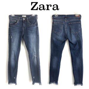 Zara Frayed Hem Distressed Skinny Jeans